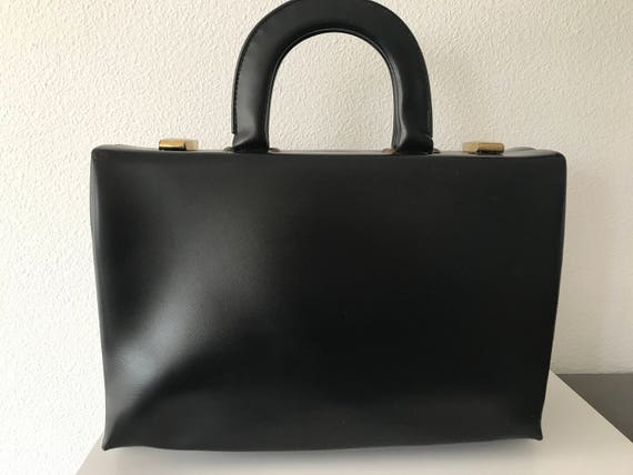 Vintage black handbag | vintage beautycase | leatherette handbag | vintage handbag | black beautycase