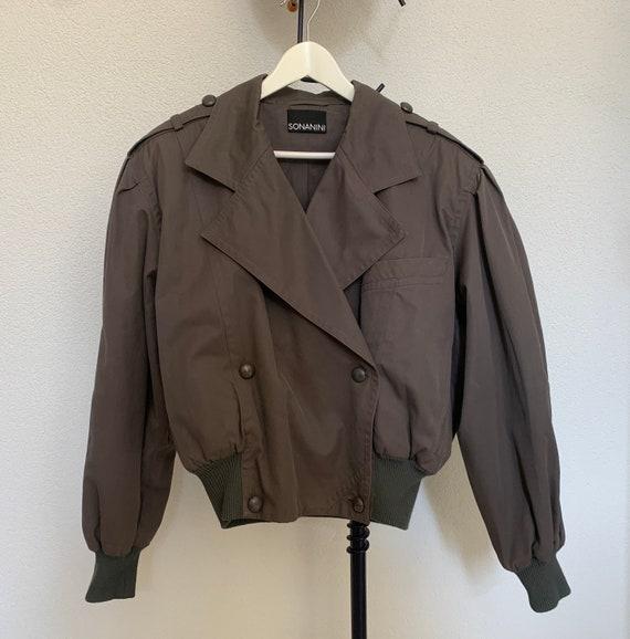 Sonanini battle dress   short coat   Bomber   green gray   German Brand   double breasted   size EUR 40