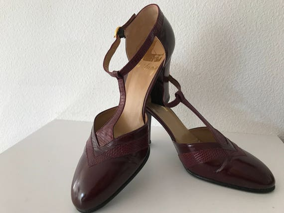 Vintage eighties darkred leather Margareth Jerrold shoes highheels pumps, size 37