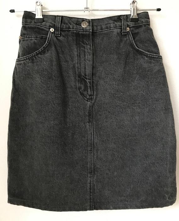 Vintage Italian designer Gianfranco Ferre black denim jeans skirt, size S