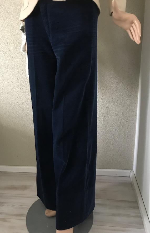 Vintage broek | Salty Dog | velours | flared | high waist | velvet | | blue | darkblue | small medium size | seventies