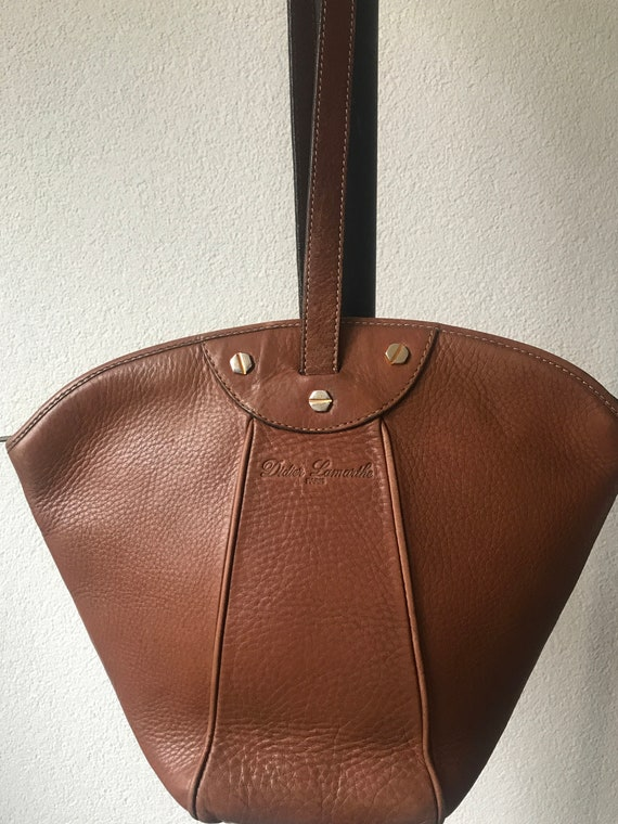 Vintage shoulder bag | brown leather | handbag | Didier Lamarthe Paris | designer bag | French designer