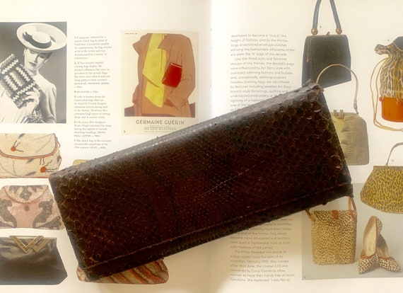 Vintage bag | dark brown leather | snakeskin | clutch | purse | party bag | evening bag | sixties
