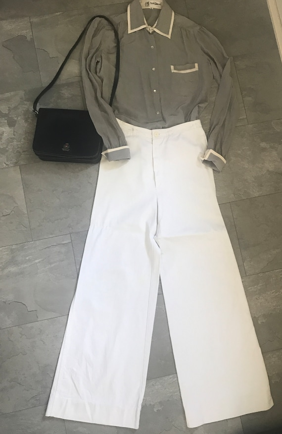 Vintage flared white jeans | Salty Dog white jeans | Bell bottom jeans | High waist flared pants | White flared pants | Seventies pants