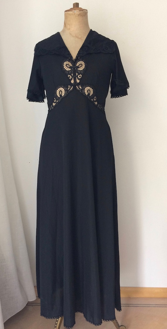 Vintage nightgown | Kayser France |  maxi night gown | black night dress | long nightgown