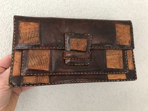 Vintage brown leather and snakeskin leather clutch or purse