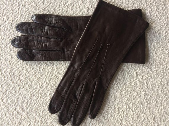 Vintage darkbrown leather Laïmbock gloves, size 7