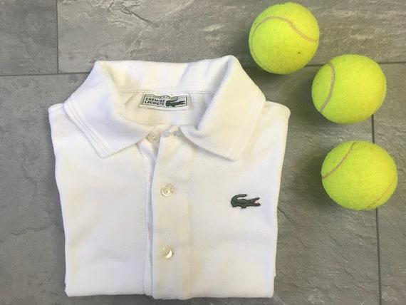 Vintage Chemise Lacoste polo shirt | White polo shirt | vintage white polo| Crocodile polo shirt | French designer shirt