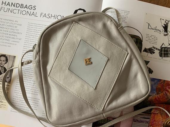 Vintage shoulder bag | leather | PE FLorence | gray leather | eighties bag | cross body bag | Italian design
