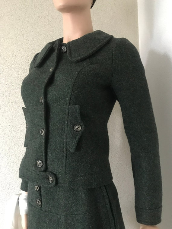 Handmade jacket and skirt | wool | seventies | bat