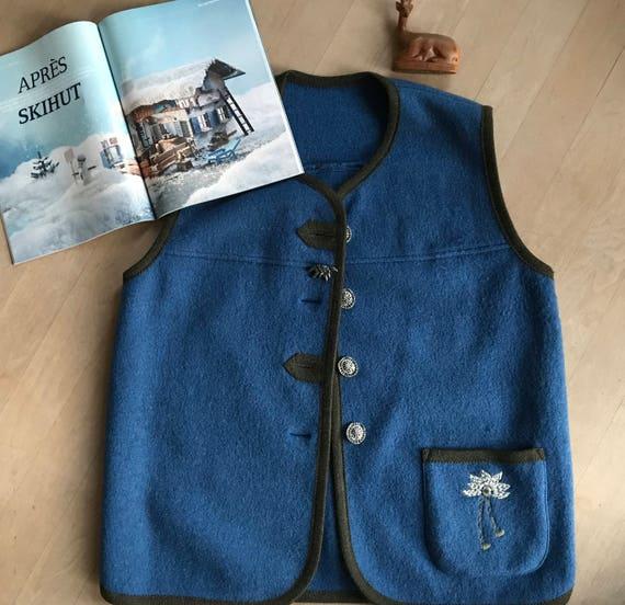 Vintage Tiroler Petressa blue wool cardigan, size EU 42/UK 16