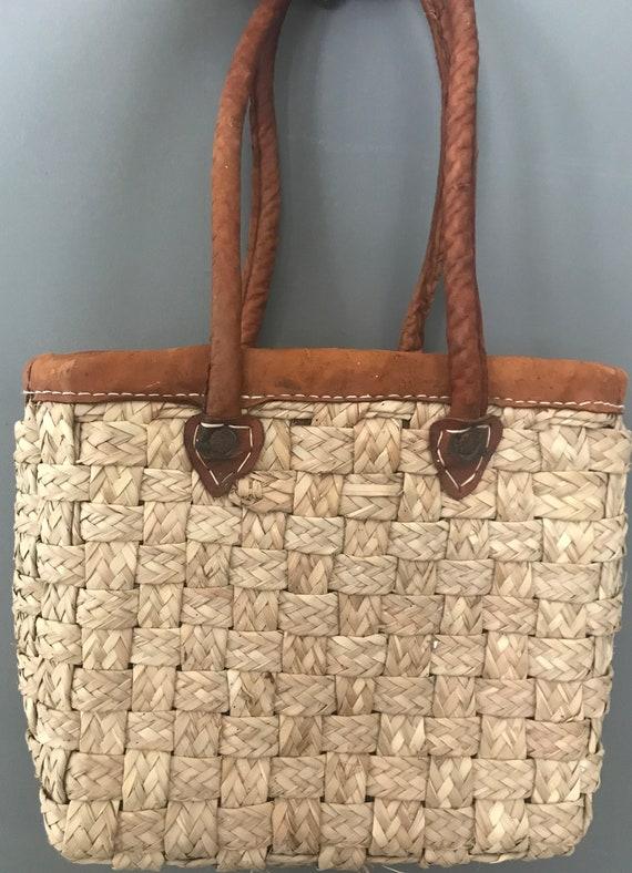 Vintage straw handbag | beige | twined bag | braided | leather handle | french basket | top handle | shoulder