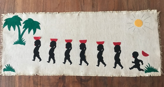 Vintage tapestry | Africa | Palmtree | Linen | felt | wall hanging | black | red | sixties | canvas