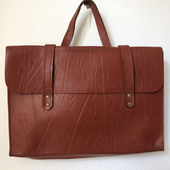 Vintage rare brown leather bag, schoolbag, laptopbag or businessbag