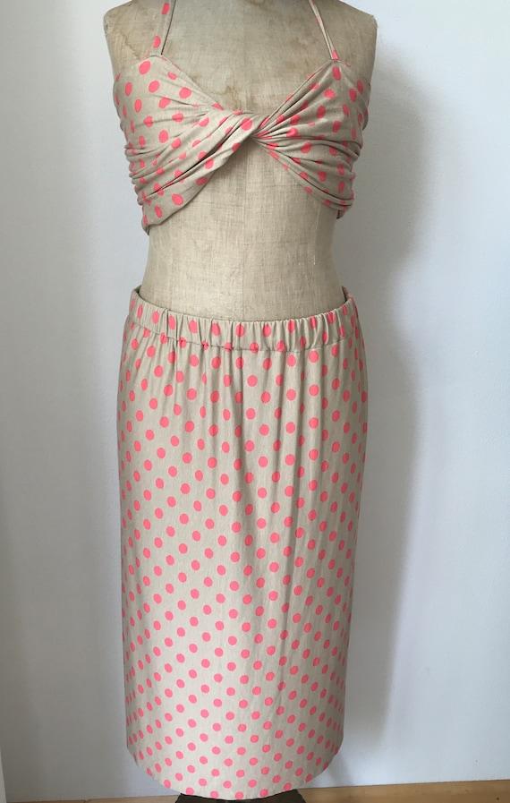 Handmade skirt  | Summer outfit | Polkadot skirt | Beach set | Skirt with bra | Skirt with top | Handmade outfit