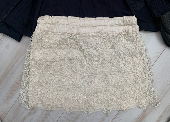 Mini skirt | silk with lace | reworked curtain | offwhite | handmade | sustainable |