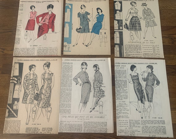 Vintage sewing patterns |  sixties fashion | La Femme d'Aujourd'hui | French size 40 | EUR 38 | US 6 | UK 12