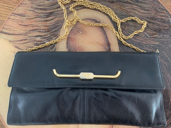 Vintage bag | black leather | black stylish bag | shoulder bag | chain strap | purse | clutch | gold colored strap