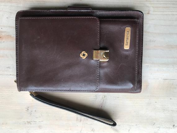 Vintage wristbag   Samsonite   brown leather    handbag   purse   bag   eighties   clutch