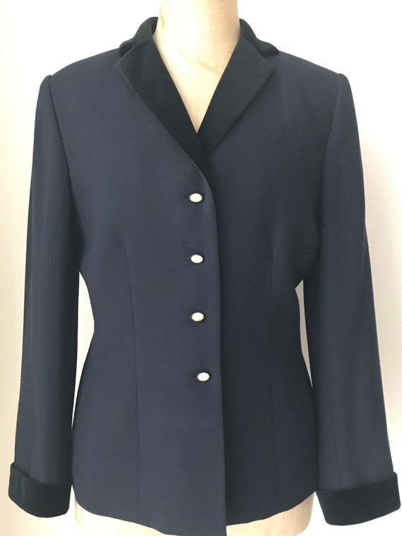 Vintage Kasper A.S.L. jacket   Kasper A.S.L. blazer   dark blue jacket   classic style blazer   size 8 US   38 EUR   10 UK