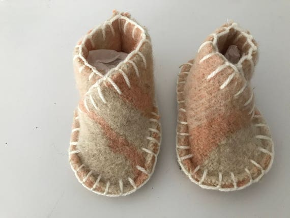 Handmade cute pink baby shoes or crib shoes made from vintage blankets, size 0 - 3 months