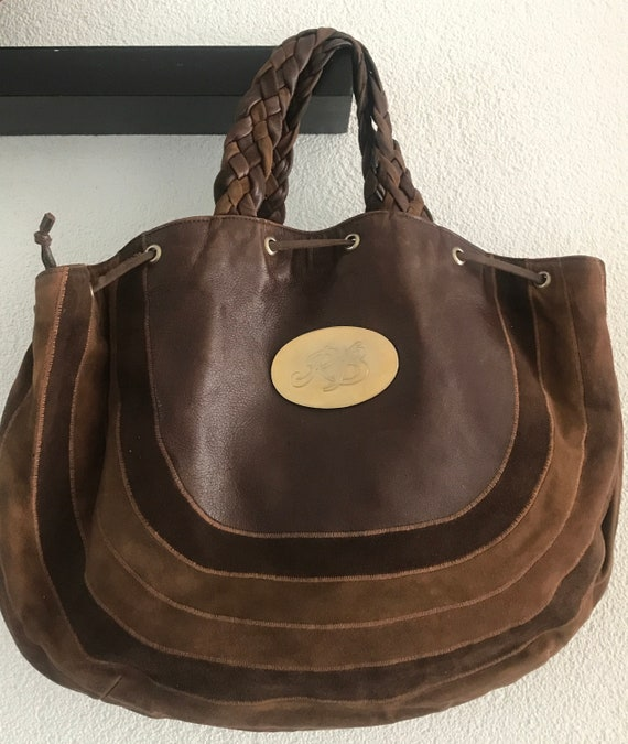 Vintage Braccialini | handbag | bag | Firenze | brown leather and suède | Fantasia | Borsa | eighties | Italian designer