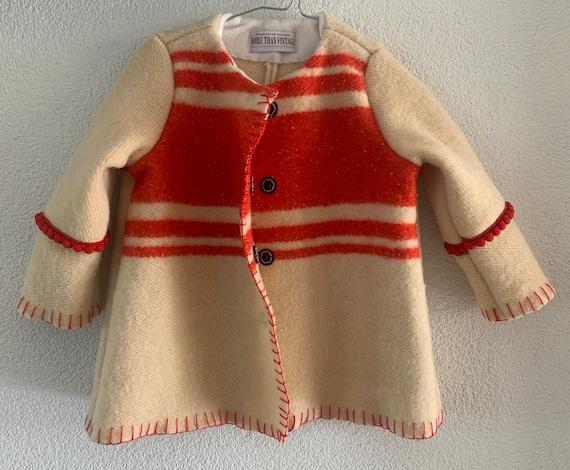 Girls jacket | blanket coat | handmade | wool coat | vintage blanket | pastel colors | one of a kind |  size EUR 92 -  98 | 2-3 yrs