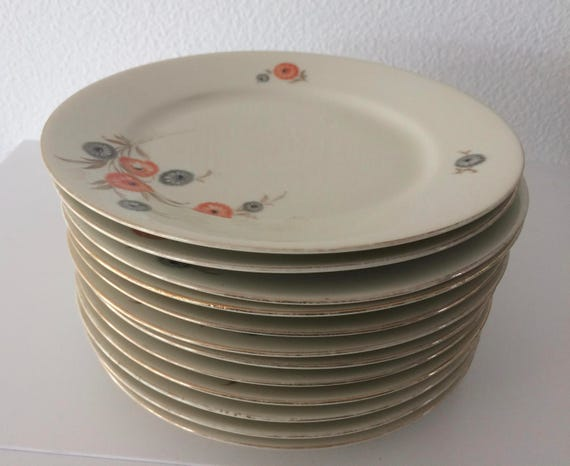Vintage set of 12 Kahla porcelain cake plates with flower decoration