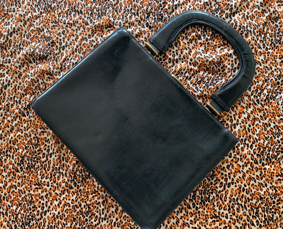 Vintage handbag   black leather   top handle bag   concertina   elegant bag   eighties