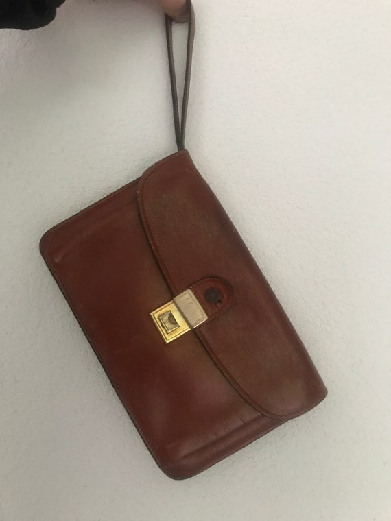 Vintage wrist bag | brown leather | small bag | eighties | burgundy | clutch