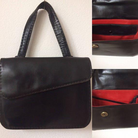 Vintage handbag | black leather | red leather | ba