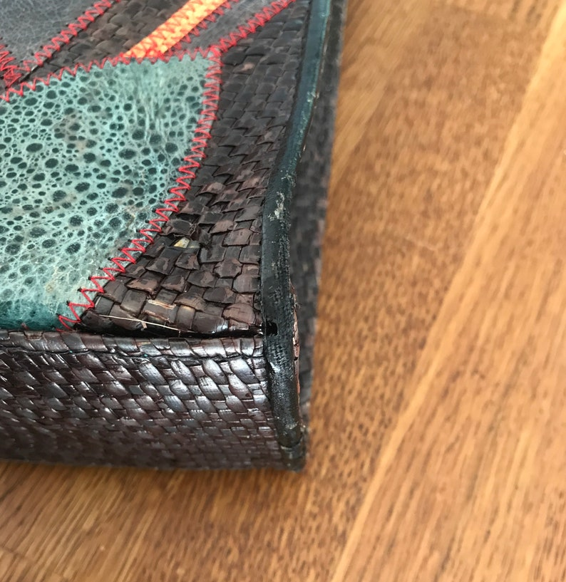 leather vintage shopping bag colored straw woven The Philippines handmade Cora Jacobs Collection patent leather