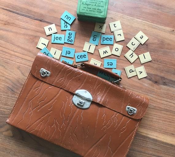 Vintage school bag | leather business bag | leather laptop bag | sixties school bag | rare leather bag | Dutch school bag | Small book bag