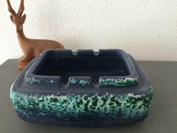 Vintage Germany ceramics ashtray, blue with green