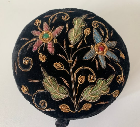 Vintage Zardozi box | Black velvet |  Jewelry box | Embroidered box | Round box | Mid century