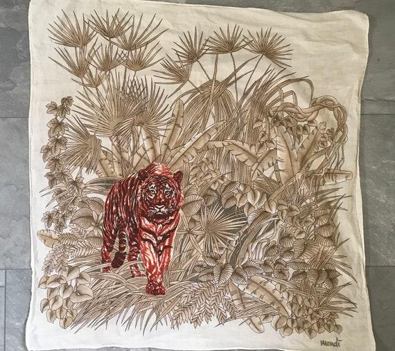 Mondi safari scarf | Tiger print scarf | Beige with red scarf | Vintage cotton scarf | Safari colors scarf | Jungle scarf