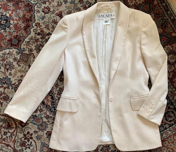 Vintage Escada Margaretha Ley   Piacenza Cashgorissimo   colbert   offwhite   jacket   blazer   Designer   German design   wool   angora