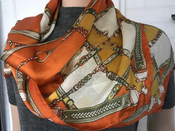 Vintage scarf | silk | hand rolled | exclusive | square | Hermes style | orange | yellow | foulard