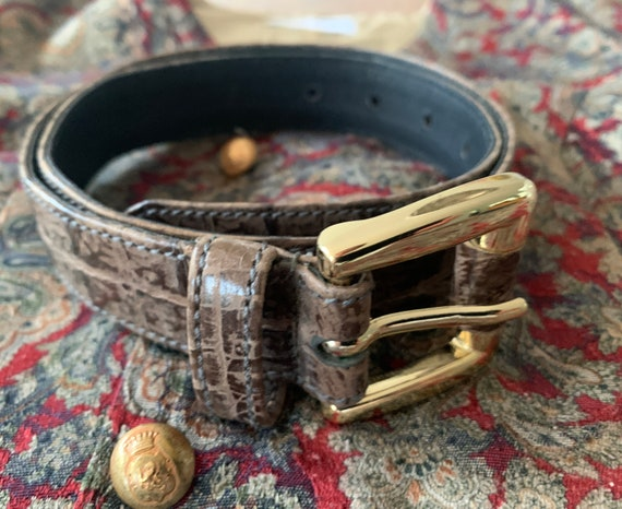 Vintage belt | Adolf | brown reptile print leather | golden clasp | 75 cm length