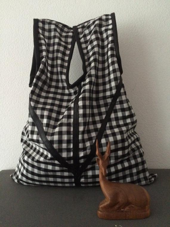 Handmade black white Vichy check totebag shoppingbag bag
