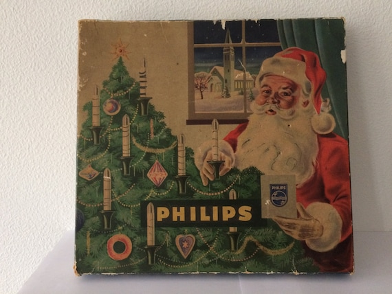Vintage 16 Philips Christmas white lights with black bakelite sockets