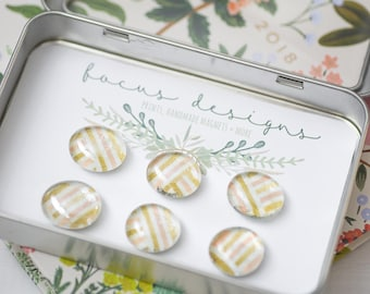 """6 Glass Magnets - Set of Magnets- Floral Magnets - Fridge Magnets """"Champagne"""""""