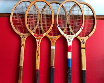Collectible Wood racket sport ball Tennis memorabilia Donnay tennis racket tennis player Donnay Smash play tennis French Vintage