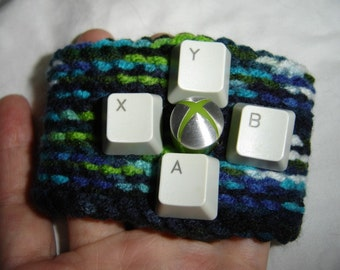 PC Xbox360 button upcycled cuff crochet bracelet unisex black blue green geek computer parts