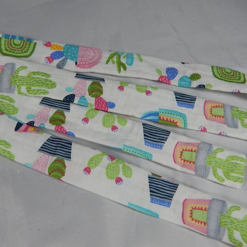 Gladiator sandals with cotton straps cute cacti and blobby and Memphis print tie up flip flops Small