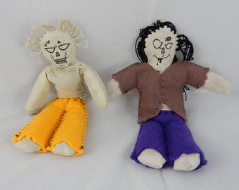 Zombie couple dolls girl and boy minature undead worry doll pair monsters horror primitive felt handmade art dolls