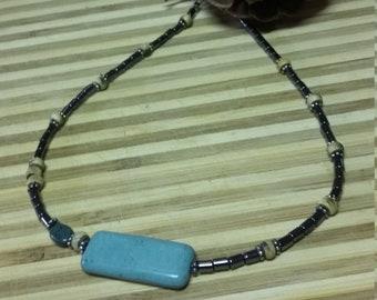 119.  Magnasite, Azurite, Hematite & Horn Choker Style NECKLACE!