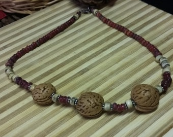 118.  Seed, Horn & Wood Choker Style NECKLACE!