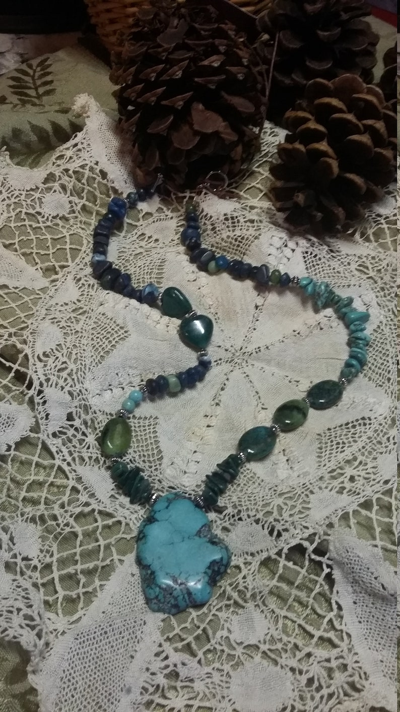 86.  Turquoise Azurite & Malachite Statement NECKLACE image 0