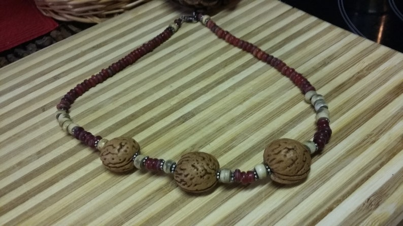 118.  Seed Horn & Wood Choker Style NECKLACE image 0